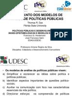 Mapeamento Dos Modelos de Analise de Politicas publicas