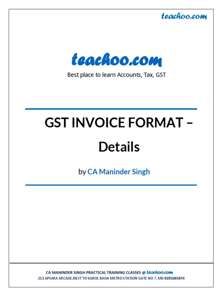 Gst Invoice Formats By Teachoo Pdf Factura Finanzas Del