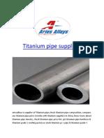 Titanium pipe suppliers