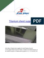 Titanium sheet suppliers