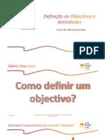 Definição de Actividades e Objectivos