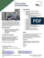 Laboratory Quality Management System Internal Auditor