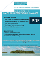 Job Ad - Sales and Reservations Manager