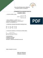 Exámenes Álgebra Lineal