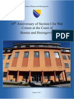 10 Anniversary of Section I. for War Crimes at the Court of Bosnia and Herzegovina