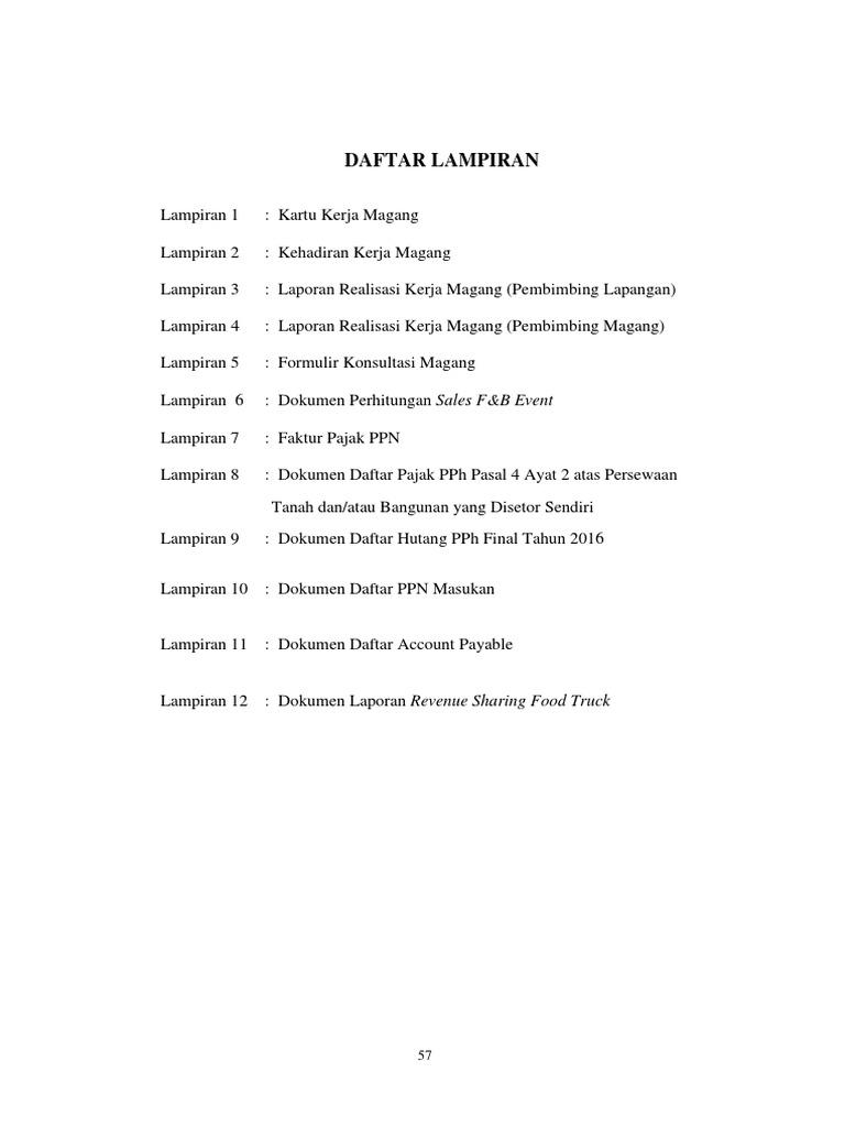 Daftar Lampiran Skripsi Akuntansi