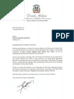 Carta de condolencias del presidente Danilo Medina a Indiana Fernández viuda Pérez por fallecimiento de su esposo, Genaro Augusto Pérez Polanco (Yoryi)