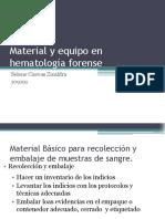 Material y Equipo en Hematología Forense