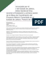 Instalación y Primera Sesión de La Mesa de Coordinación Del Proyecto México Conectado en El Estado de Jalisco