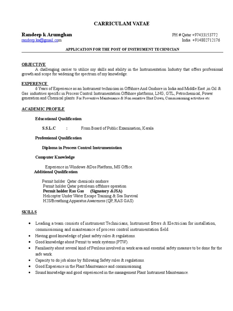 instrument technician cv 1 1 technology energy and resource - Chemical Technician Resume