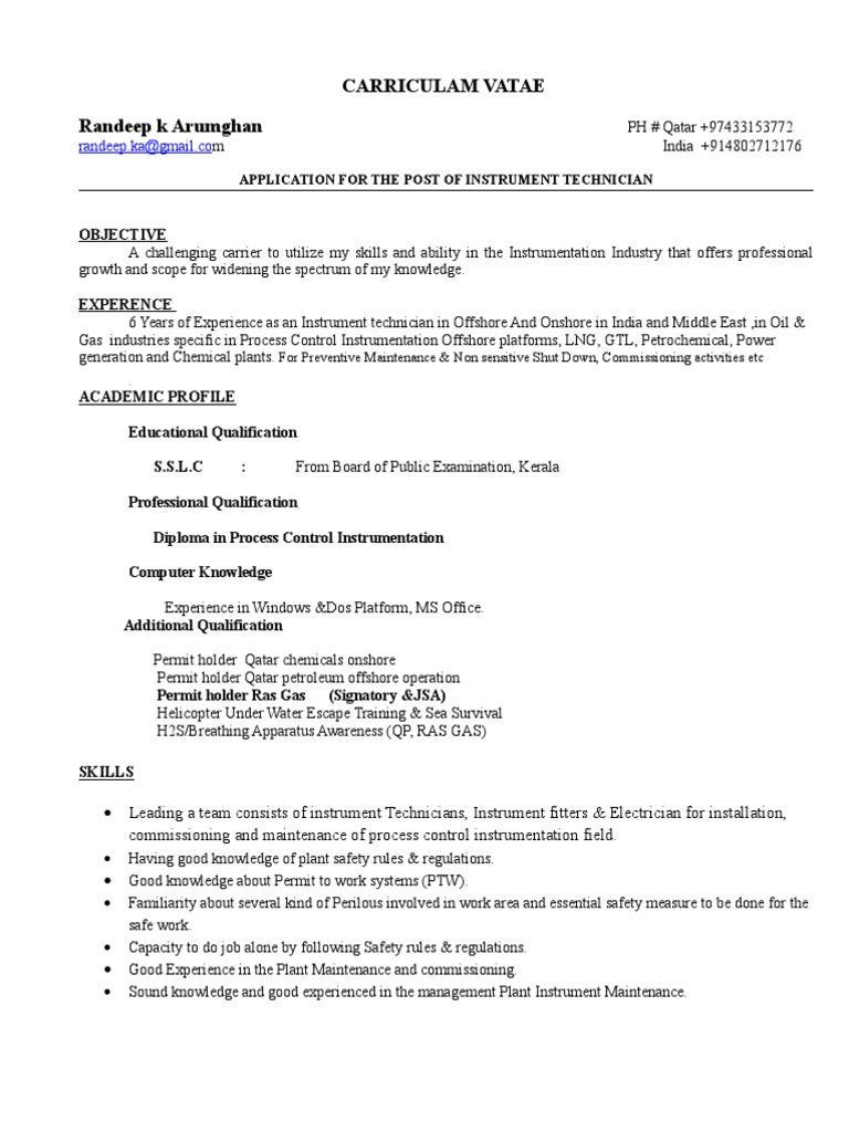instrument technician cv 1 1 technology energy and resource