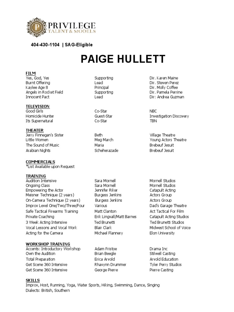 Paige Hullett Resume Privilege Theatre Entertainment