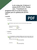 Uestionario de Preguntas Sobre La Acción de Mejora Continua Para La Optimización Del SG-SST