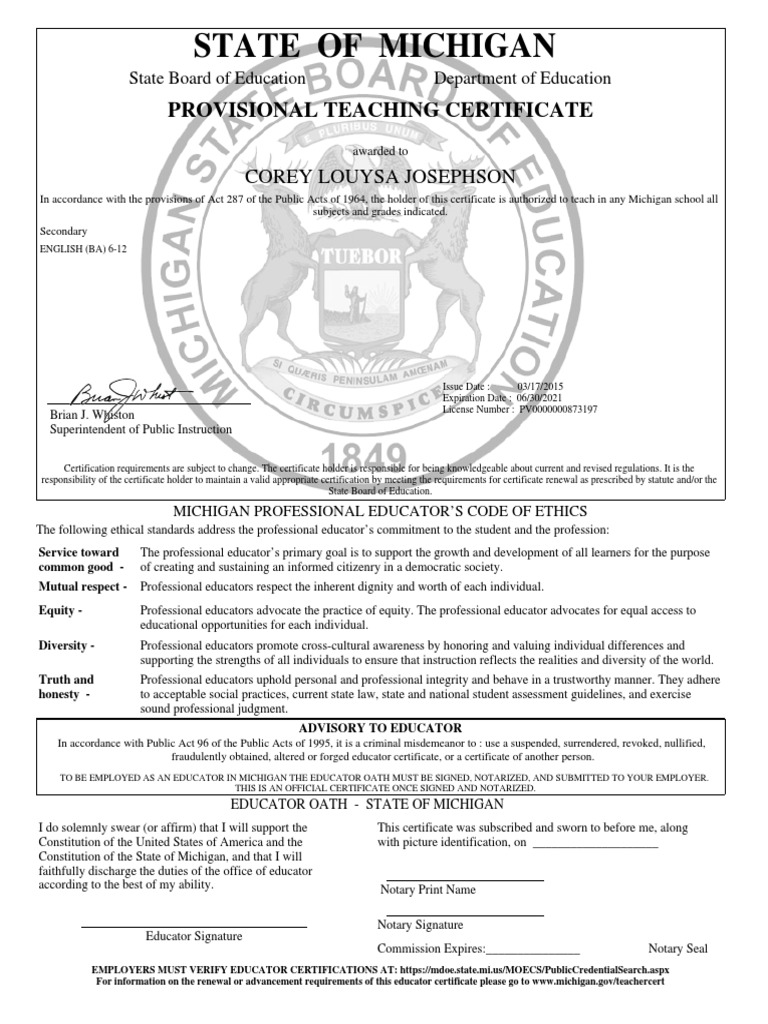 Michigan Ba Teachers Certification Notary Public Social Institutions