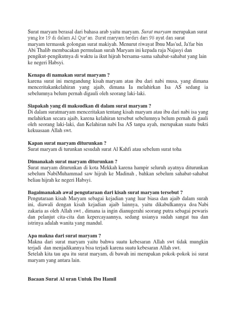 Keistimewaan Surat Maryam
