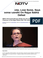Rajya Sabha Deputy Chairman Election_ Sonia Gandhi Says We Win Some, We Lose Some on Rajya Sabha Defeat