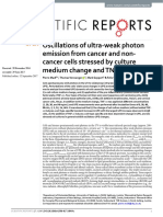 Oscillations of ultra-weak photon emission from cancer and non-cancer cells stressed by culture medium change and TNF-α