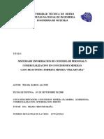 Sistema de Informacion de Control de Personal y Comercializacion en Concesiones Mineras Pillahuara