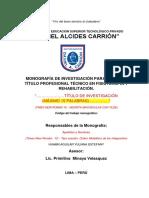 Caratula de Monografia de Investigacion