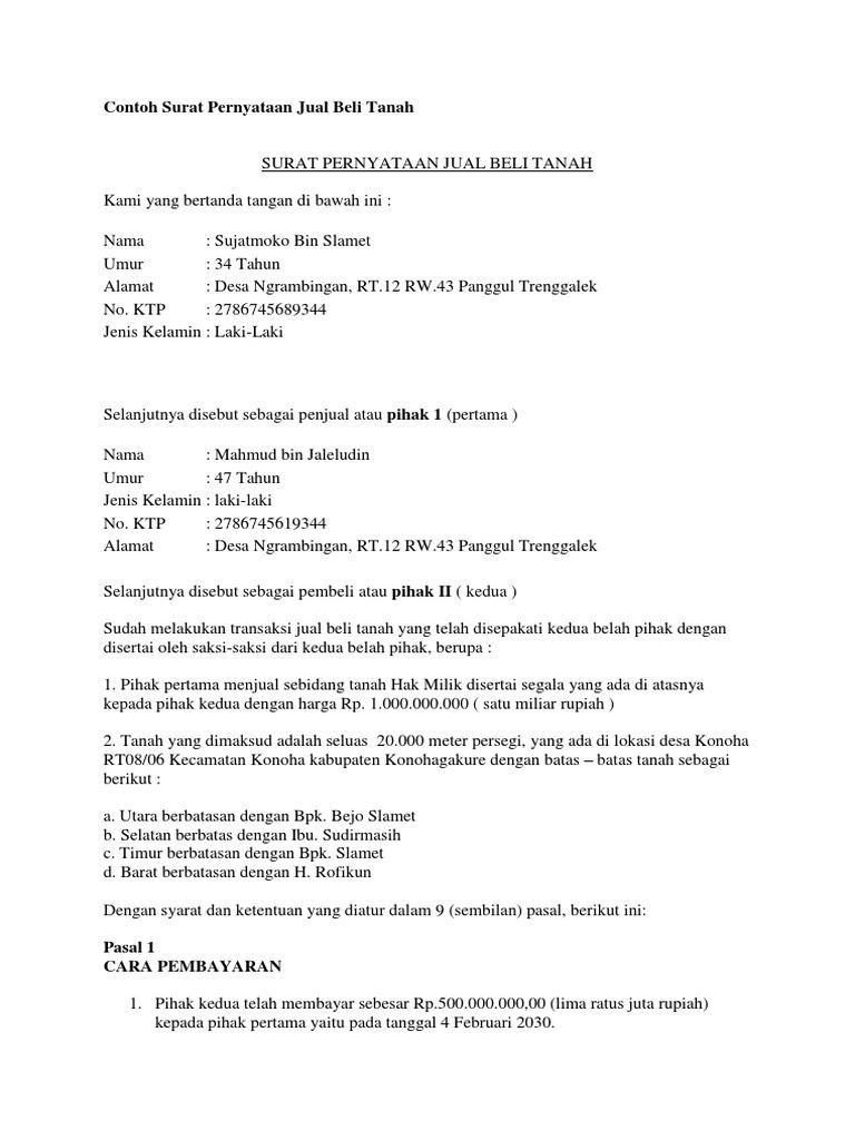 Contoh Surat Pernyataan Jual Beli Tanahdocx