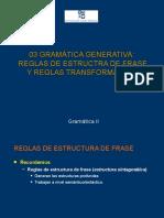 Gramatica Generativa - Reglas de Estructura de Frase y Reglas Transformativas