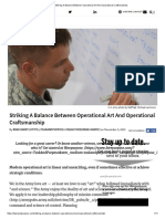 Striking a Balance Between Operational Art and Operational Craftsmanship