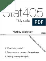 Tidying Data by Hadley Wickham