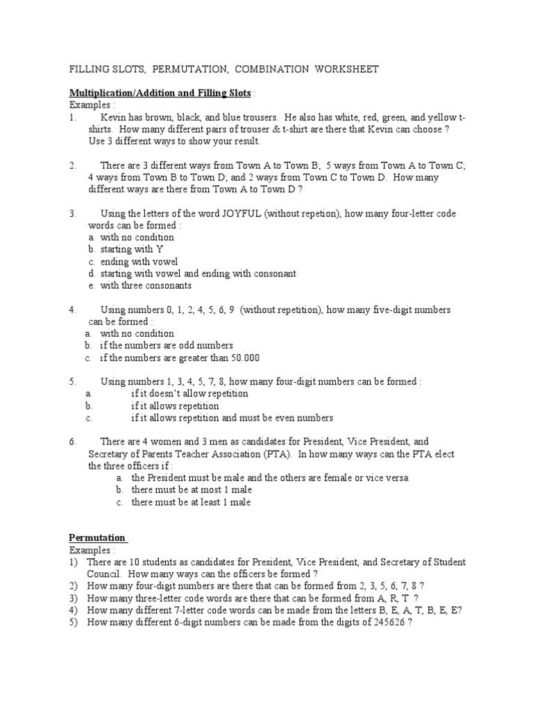 Combinatorics Worksheet Ephemera – Permutations and Combinations Worksheet