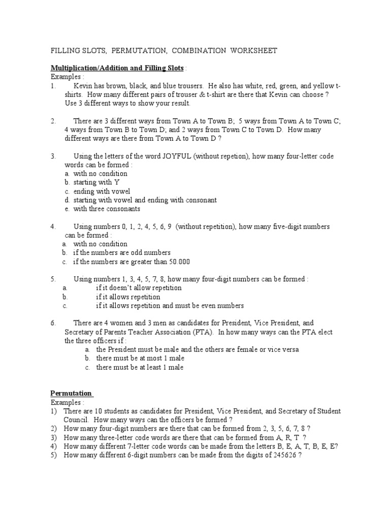 worksheet Permutations And Combinations Worksheet With Answers combinatorics worksheet ephemera gaming devices