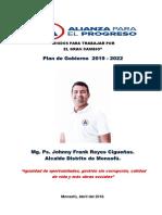 Plan de Gobierno Municipal de Monsefú 2018- Alianza para el Progreso- Candidato Jhonny Reyes Sigueñas