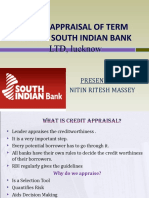 credit appraisal of term loan at south indian bank