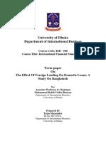 Turjo Mazumder Report on the Effect of Foreign Lending on Domestic Loan Dhaka University MBA