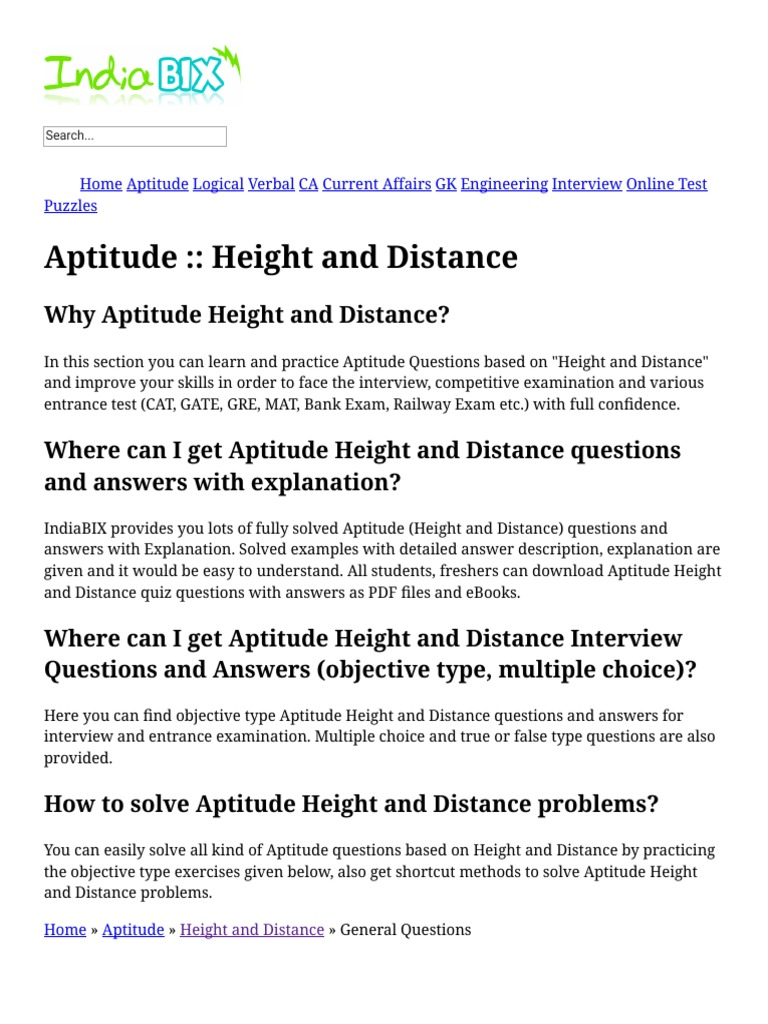 Height and Distance - Aptitude Questions and Answers pdf | Multiple