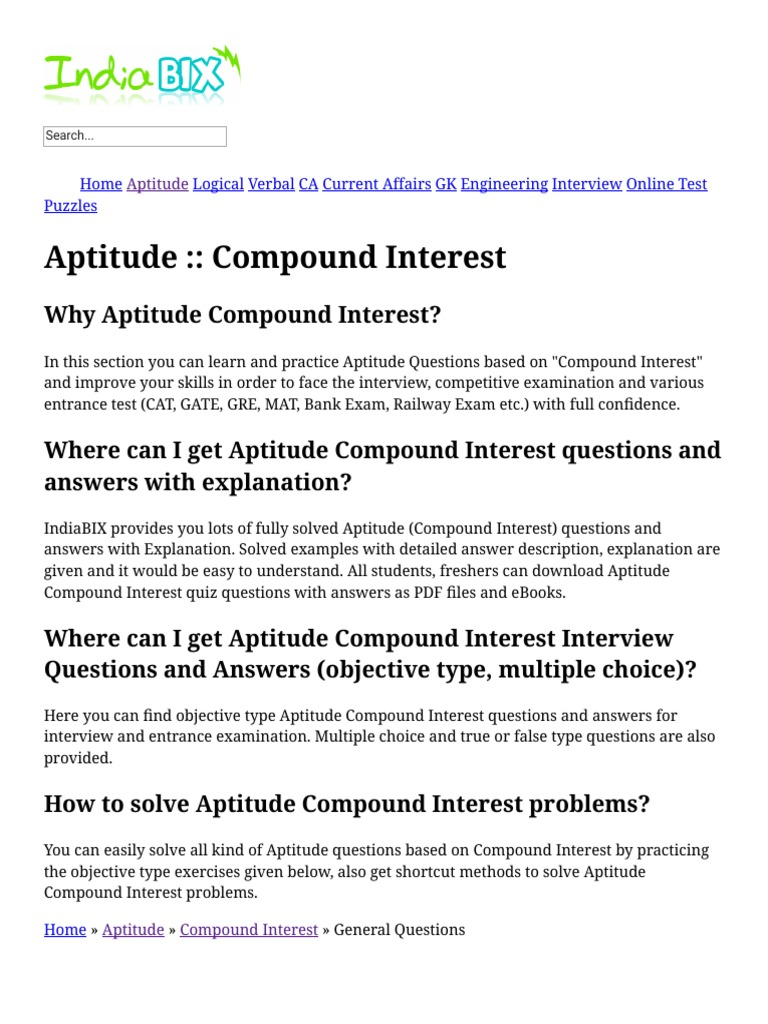 Bank Aptitude Questions And Answers Pdf