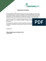 Comunicado a COOMEVA EPS ratificando condición de servicios