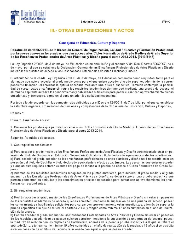 Pruebas Acceso Ciclos Artes Pdf