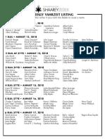 August 11, 2018 Yahrzeit List