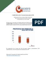 Conflictividad Social en Venezuela Julio 2018