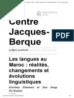 Les langues au Maroc :réalités,changements et évolutions linguistiques