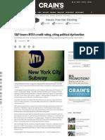MTA Credit Rating Lowered- AGAIN