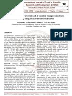 Performance Characteristics of A Variable Compression Ratio Engine using Transesterified Mahua Oil