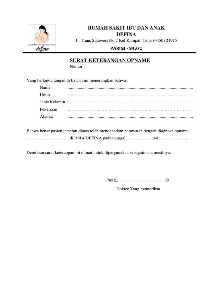 Surat Keterangan Opname