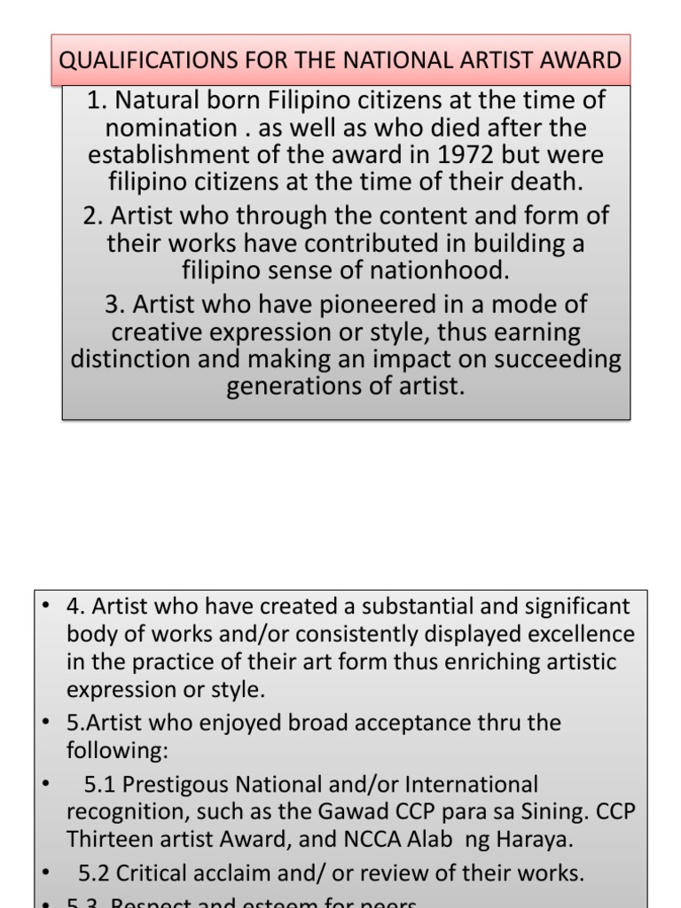 Qualifications For The National Artist Award Contempo