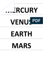 Flashcard Name Planet