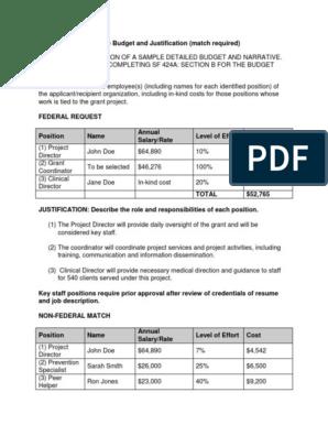 Sample Budget Match Required v2 | Per Diem | Federal