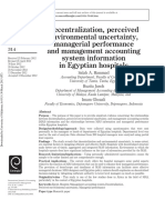 Decentralization, Perceived Environmental Uncertainty, Managerial Performance and Management Accounting System Information in Egyptian Hospitals