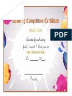 Drawing Competition Certificate