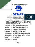 4 Diseño y Elaboración de Equipo Para Desmontar y Montar Eje de Balancines, De Motores Volvo Fh, Fm, Fmx.