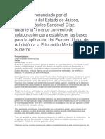 Firma de Convenio de Colaboración Para Establecer Las Bases Para La Aplicación Del Examen Único de Admisión a La Educación Media Superior