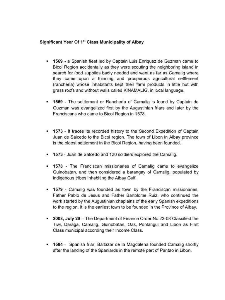 Brief of Albay History   North America